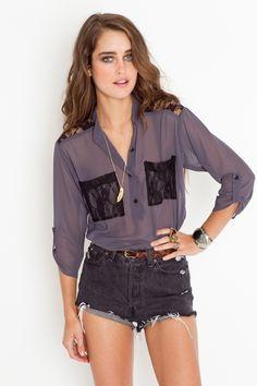 lace pocket blouse