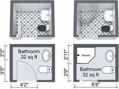 small space bathroom layout options Small Bathroom Floor Plans, Bathroom Layout Plans, Small Bathroom Layout, Small Floor Plans, Bathroom Design Layout, Bathroom Ideas, Bath Design, Bathroom Remodeling, Bathroom Inspo