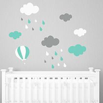 miętowy deszcz CHMURKI naklejka balony MARZENIA, pokój dziecka - naklejki ścienne