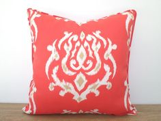 Coral Outdoor Pillow Case 20x20, Ikat Cushion Cover Outdoor Furniture, Coral  Red Outdoor Cushion