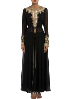Black anarkali suit featuring with embroidered neckline and sleeve only on Kalki