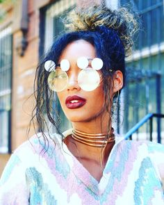 colorful blue hair, gold choker necklace, rad sunglasses and burgundy lipstick. | street style inspiration.