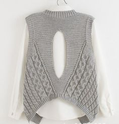 female grey pink sleeveless sweater vest cable twisted loose jumper knitwear pullover lady irregular hem back hollow out tops Crochet Woman, Knit Crochet, Knit Vest, Knit Fashion, Knitting Designs, Baby Knitting, Knitted Hats, Knitwear, Knitting Patterns