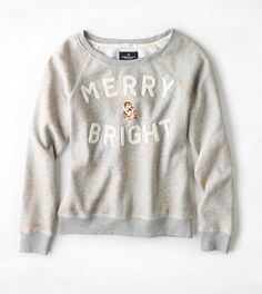 Medium Heather Grey AEO Merry & Bright Sweatshirt