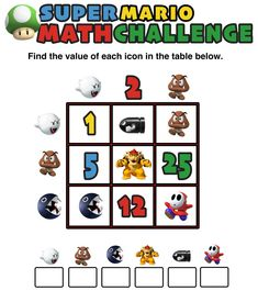 Can your kids solve these fun, free, and printable Super Mario math puzzles and challenges worksheets? They make perfect warm up and cool down activities for 3rd grade, 4th grade, 5th grade, 6th grade, 7th grade, and 8th grade or homeschool students.