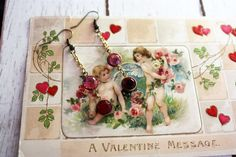 Pink and Red vintage crystal earrings lightweight Love is in the Air repurposed jewelry by DejaVuVintageJewelry on Etsy