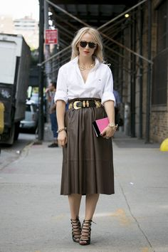 Brown leather softly gathered midi skirt- I would wear that!