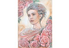 Original Painting - Elven Princess, elf fantasy, pink portrait, signed art, watercolour painting, fantasy art, roses painting, pink flowers
