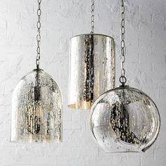 "Mercury Glass Globe Pendant - Silver - Threshold™ 11x12x12"" hardwire -entryway closet #pendant #lights"
