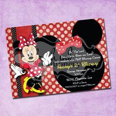 Red Polka Dot Minnie Mouse Birthday Invitation