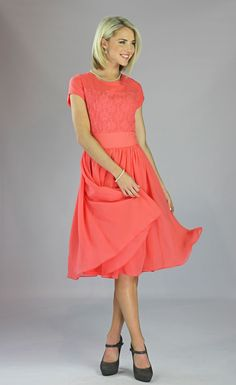 Mikarose Knee-Length Short Sleeve Spring Dress- Isabel Coral, Size XS-2XL (0-20) at Amazon Women's Clothing store: Modest Dresses