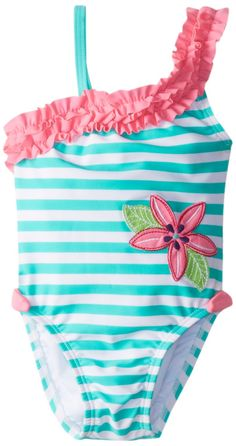 Hartstrings Little Girls'  Girls' Stripe Assymetrical One Piece Bathing Suit, Green/White Stripe, 2T