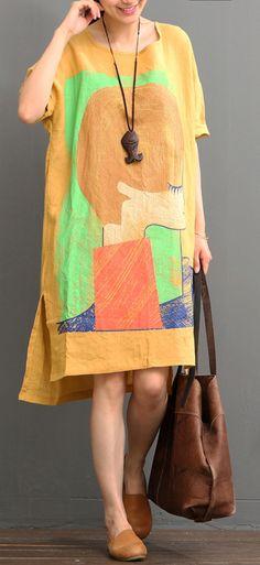 Orange linen dress casual summer dresses plus size shirt sundress
