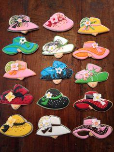 Kentucky Derby Hat Cookies Cookies by Bo Mother's Day Cookies, Fancy Cookies, Iced Cookies, Cute Cookies, Royal Icing Cookies, Cupcake Cookies, Cookies Et Biscuits, Sugar Cookies, Crazy Cookies