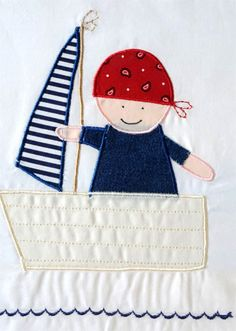 Applique bedding  Baby Set for toddlers  Baby Pirate by mybedlinen
