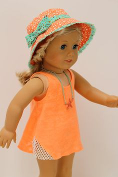 New American Girl Boy Sun and Fun Outfit~Shorts~Sandals~Sun Hat~Beach Clothes