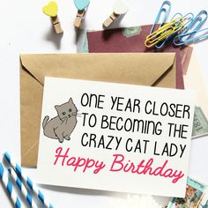 Funny Birthday Card For Her Crazy Cat Lady Best by LailaMeDesigns