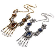 >> Click to Buy << Ethnic Vintage Style Rhinestone Carved Metal Leaf Resin Drop Tassel Choker Statement Necklace Jewelry #Affiliate