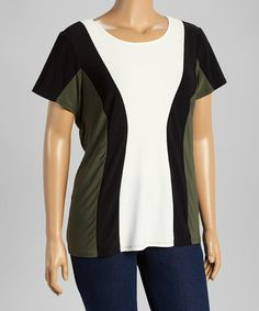 Another great find on #zulily! Black & White Color Block Scoop Neck Top - Plus #zulilyfinds