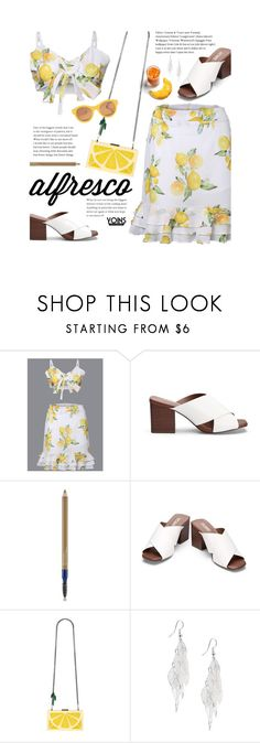 """""""Yoins Alfresco"""" by beebeely-look ❤ liked on Polyvore featuring Estée Lauder, Alice + Olivia, Lucy Folk, chic, lemon, yoinscollection and alfrescodining"""