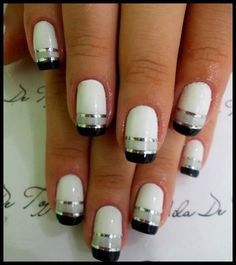Easy Nail Art Ideas This would be a good one for football season (Raider Nation)