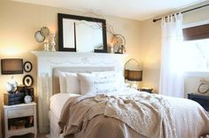 A fireplace mantel creates a unique headboard. The depth allows for some interesting decorating options above it! -Shirley