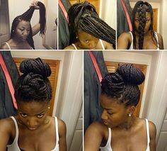 Braided Pompadour and Bun | 21 Awesome Ways To Style Your Box Braids And Locs