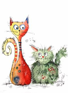 Über Clarissa Best friends - two in deeper despite all the differences. Watercolor Animals, Watercolor Cards, Watercolor Paintings, Watercolour, Cat Drawing, Painting & Drawing, Art Fantaisiste, Art Mignon, Art Textile