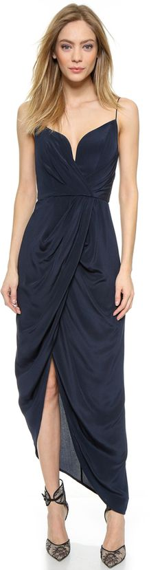 Zimmermann Silk Plunge Drape Long Dress