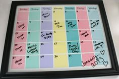22 Picture Perfect Ways to Repurpose a Frame via Brit + Co. Paint chip calendar!