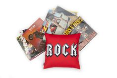 Red black and white Rock Cushion