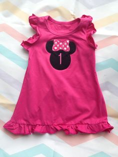 Hot pink minnie mouse dress  1st 2nd 3rd by WildRoseBoutique2