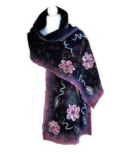 Nunofelted scarf flowers pink and black unique handmade by ArtMode