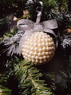 Pearl Christmas tree ornament  with styrofoam ball.