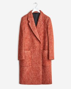 FILIPPA K A classic fitted double breasted coat in a luxurious soft hairy wool. Strap inside to button up the left side. Classic just under knee length, ideal for wrapping yourself up for fall. <br> <br> - Textured, soft mohair <br> - Under knee length <br> -