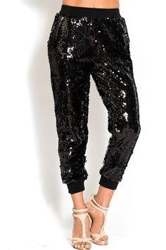 Perfect party pants. Black sequin jogger pants. $88