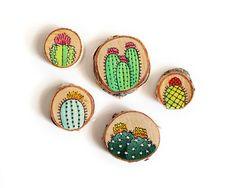 Set van vijf handgeschilderde Cactus decoratieve magneten op hout | Made to Order