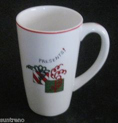 Fitz and Floyd Gourmet Happy Holidays Tall Latte Mug Coffee Cup Presents