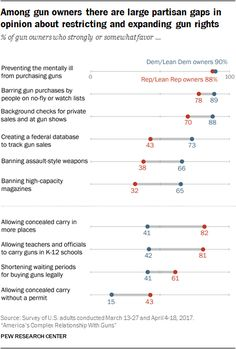 Among gun owners there are large partisan gaps in opinion about restricting and expanding gun rights  Source: Pew Research Center