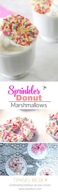 Sprinkles donut marshmallows are the perfect surprise for Valentines Day or any Donut  or Sprinkles party!