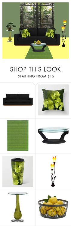 """green,yellow black"" by akaclem ❤ liked on Polyvore featuring interior, interiors, interior design, home, home decor, interior decorating, Oriental Weavers and Roche Bobois"