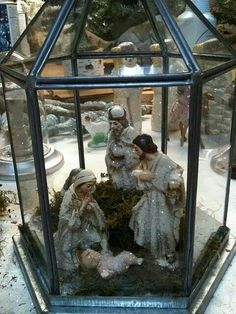 Nativity inside lantern