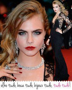 Cara Delevigne, Maquiagem, Cannes, Burberry, vestido longo, renda preta, sobrancelha, jóias