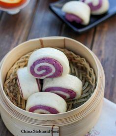 Chinese Purple Sweet Potato Buns | China Sichuan Food