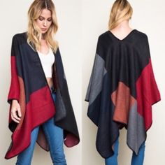 "🆕SYNDIE hello fall poncho - NAVY Color Block Poncho. 100% Acrylic. Dimension 51""x56 Bellanblue Sweaters Shrugs & Ponchos"