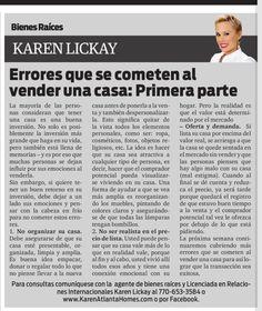 Amigos, los invito a leer mi columna en el distinguido periódico La Visión. Esta semana y la próxima estaremos hablando acerca de errores que se cometen al vender una casa. Disfruten!