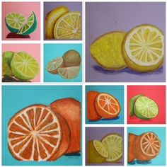Complimentary Colors, Fruit Art, high school art, Laura Harrison, The Westfield School, oil pastels, Art Education, Art Education Blog, Kim and Karen 2 Soul Sisters Art Education Blog