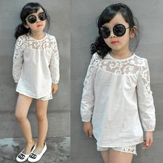 white shirt baby Picture - More Detailed Picture about 2017 Spring New Arrival Fashion Brand Children Clothing Kids White Shirts Baby Tops Girls Lace Patchwork Cotton Princess Blouse Picture in Blouses & Shirts from JOMAKE Kids Clothes Store Toddler Dress, Baby Dress, Baby Girl Fashion, Kids Fashion, Little Girl Dresses, Girls Dresses, Girls Tunics, Sewing Kids Clothes, Look Girl