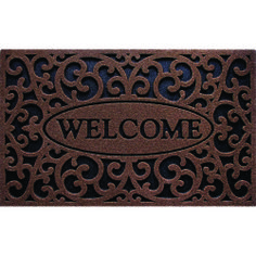 WELCOME IRON COFFEE --- Solid neutral colors to compliment any décor, these heavy weight molded rubber mats provide an amazing scraping surface that repels water for great traction in all weather.