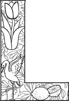 L Harfi Mandala Çalışması Coloring Letters, Alphabet Coloring Pages, Coloring Book Pages, Printable Coloring Pages, Coloring Sheets, Fancy Letters, Letters And Numbers, Doodle Alphabet, Letter A Crafts